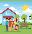 family standing in front house with bench lamp sun vector image