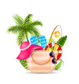 female bag with beach accessories set of travel vector image vector image