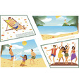 flat summer beach vacation composition vector image