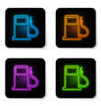 glowing neon petrol or gas station icon isolated vector image vector image
