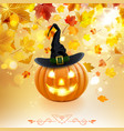 halloween pumpkin on autumn background vector image vector image