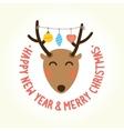 Happy new year deer head vector image vector image