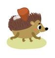 hedgehog and mushroom vector image