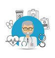 Hospital doctor with his tools icon