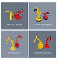 industrial robots and smart automatic machine set vector image vector image
