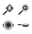 kitchen griddle icon set simple style vector image
