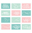 lettering set love valentines day cards vector image vector image