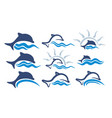 logos with wave and dolphins vector image