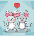 loving couple mice animal baby heart decoration vector image