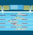 male swimming racing in pool vector image vector image