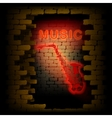music saxophone neon light in the brick wall uno vector image vector image
