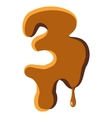 Number 3 from caramel icon vector image vector image
