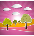 Paper Nature Pink Landscape with Trees Clouds and vector image vector image