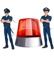 Police officers and siren light vector image vector image