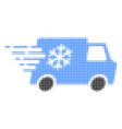 refrigerator car halftone dotted icon with fast vector image