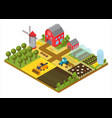 rural farm 3d isometric template concept with mill vector image vector image