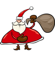 santa claus with sack cartoon vector image vector image