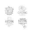 set of emblems for catering companies food vector image vector image