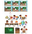 set of kids in classroom vector image vector image