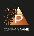silver letter p logo symbol in the triangle shape vector image vector image