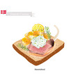 smorrebrod with roasted lamb the national dish of vector image vector image