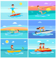 summer activities set seascape vector image vector image