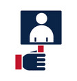 united states elections hand with candidate vector image vector image