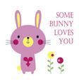 valentines card with bunny vector image vector image
