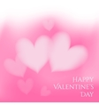 Valentines day card with soft hearts on pink vector image