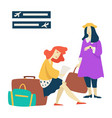 waiting room airport women with baggage flight vector image vector image