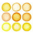 watercolor light yellow circles set vector image