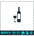 Wine icon flat vector image vector image