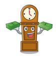 with money grandfather clock mascot cartoon vector image vector image