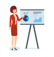 woman shows on stand schedule and statistics vector image vector image