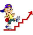 boy walks on red arrow vector image