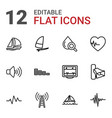 12 wave icons vector image vector image
