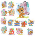 a set of with a brown teddy vector image vector image