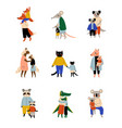 animals and their kids set loving parents with vector image vector image