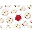 apple slice seamless pattern with shadow on white vector image vector image