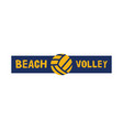 beach volleyball logo template badge volley sign vector image vector image
