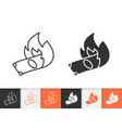 burning money simple black line icon vector image