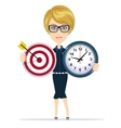 Business woman holding target and time clock vector image vector image