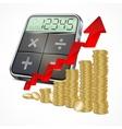 Calculator coins with arrow vector image vector image