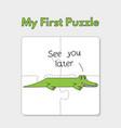 cartoon alligator puzzle template for children vector image
