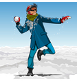 cartoon guy hipster playing snowballs in winter vector image vector image