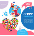 cartoon natural berry smoothies template vector image vector image