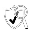 certified badge and magnifying glass symbols in vector image