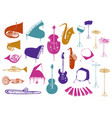 colorful collection music instruments vector image