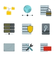 Computer setup icons set flat style vector image vector image