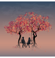 Couple on a swing between trees vector image vector image